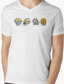 Cartoon design of four happy cats Mens V-Neck T-Shirt