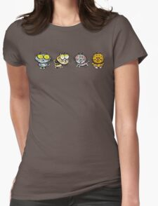 Cartoon design of four happy cats Womens Fitted T-Shirt