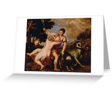 Tiziano Vecellio, Titian - Venus and Adonis Greeting Card