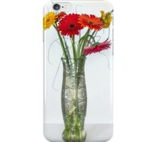 Gerberas in vase on a white background iPhone Case/Skin