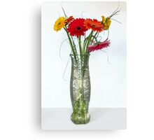 Gerberas in vase on a white background Canvas Print