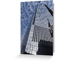 Silver and Blue - Cloud Puffs and Glass Skyscrapers Greeting Card