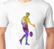 Rugby man player 02 in watercolor Unisex T-Shirt