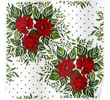 Floral pattern with Red Roses.  Poster