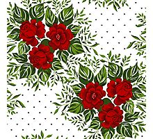 Floral pattern with Red Roses.  Photographic Print
