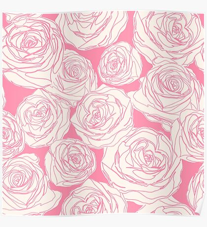 Pattern with pink roses Poster