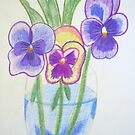 Pansies - Pencil Drawing by Vitta