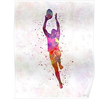 Rugby man player 03 in watercolor Poster