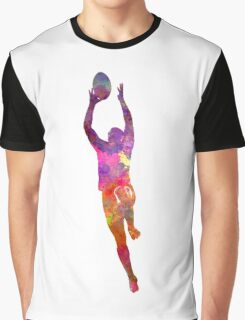Rugby man player 03 in watercolor Graphic T-Shirt