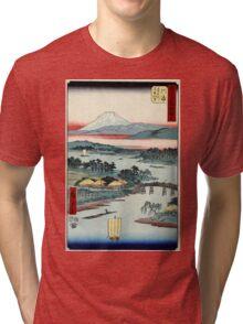 Kawasaki - Hiroshige Ando - 1855 - woodcut Tri-blend T-Shirt