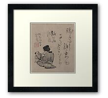 Kino Baitei - Woman With Child and Infant - Circa 1780 - Woodcut Framed Print