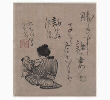 Kino Baitei - Woman With Child and Infant - Circa 1780 - Woodcut Kids Tee