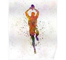 Rugby man player 04 in watercolor Poster