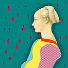 Leaning girl under rain by Rosa Félix