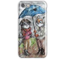 Tiger and Fox - Under the rain iPhone Case/Skin