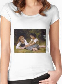 William Bouguereau  - The Nut Gatherers 1882 Women's Fitted Scoop T-Shirt