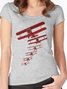 Retro Biplane Graphic Women's Fitted Scoop T-Shirt