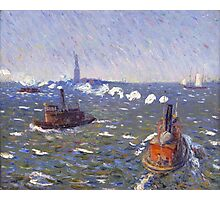 William Glackens - Breezy Day, Tugboats, New York Harbor  Photographic Print