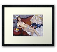 William Glackens - Nude with Apple  Framed Print