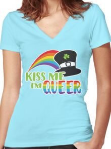 Kiss Me I'm Queer St Patrick's LGBT Pride Women's Fitted V-Neck T-Shirt