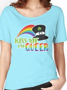 Kiss Me I'm Queer St Patrick's LGBT Pride Women's Relaxed Fit T-Shirt