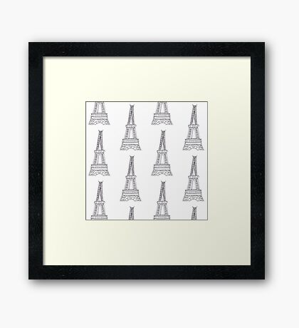 Eiffel Tower Pattern Design Framed Print