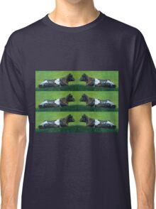 Holstein Cow Lying in Sunshine in Grass: Oil Pastel Art Classic T-Shirt