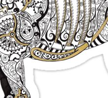 Steampunk Horse - Mechanical Horse Art Print - Gold Sticker