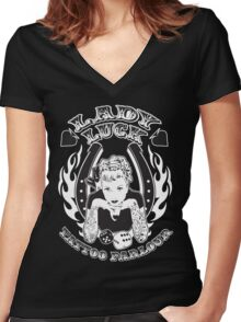Lady Luck Tattoo Parlour Women's Fitted V-Neck T-Shirt
