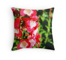 Red Trumpet Flowers Throw Pillow