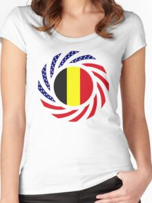 Belgian American Multinational Patriot Flag Series Women's Fitted Scoop T-Shirt