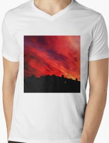 Fiery Sky Mens V-Neck T-Shirt
