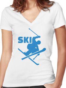 Ski Women's Fitted V-Neck T-Shirt