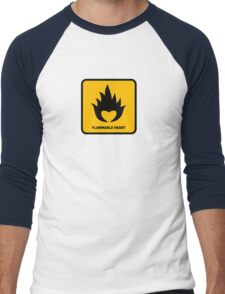 Flammable Heart Men's Baseball ¾ T-Shirt