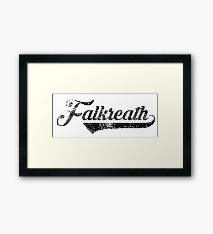 Skyrim Falkreath Distressed Sports Lettering Framed Print