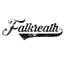 Skyrim Falkreath Distressed Sports Lettering Photographic Print