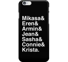 Mikasa & Eren & Armin & Jean & Sasha & Connie & Krista. (Attack on Titan) (Inverse) iPhone Case/Skin