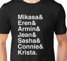 Mikasa & Eren & Armin & Jean & Sasha & Connie & Krista. (Attack on Titan) (Inverse) Unisex T-Shirt