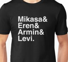 Mikasa & Eren & Armin & Levi. (Attack on Titan) (Inverse) Unisex T-Shirt
