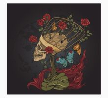 illustration with skull, bush of roses, snake and and flame. grey background Kids Tee