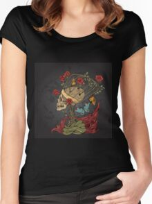 illustration with skull, bush of roses, snake and and flame. grey background Women's Fitted Scoop T-Shirt
