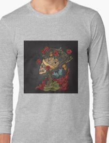 illustration with skull, bush of roses, snake and and flame. grey background Long Sleeve T-Shirt