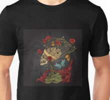 illustration with skull, bush of roses, snake and and flame. grey background Unisex T-Shirt
