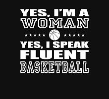 I'm a woman I speak Fluent Basketball Women's Fitted Scoop T-Shirt