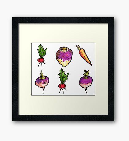 Vegetable Pattern Framed Print