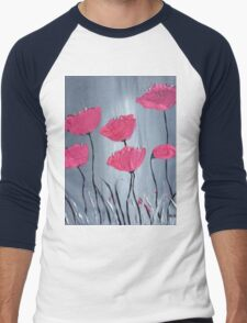 Pink flowers acrylic painting Men's Baseball ¾ T-Shirt