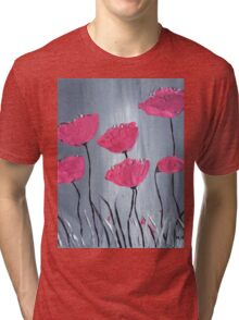 Pink flowers acrylic painting Tri-blend T-Shirt