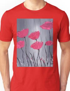 Pink flowers acrylic painting Unisex T-Shirt