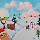 Sheep in the snow folk art painting by gordonbruce