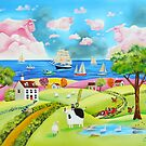 Folk art landscape painting with cow and sheep by gordonbruce